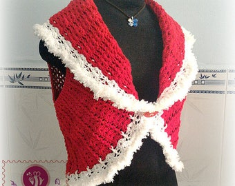 Crocheted Christmas shawl cir-collar vest - free worldwide shipping
