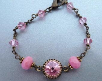 Pink crystal brass bracelet, antiqued brass bezel set rhinestone, wire wrapped beads, Light Rose Austrian crystal, pink crystal jewelry