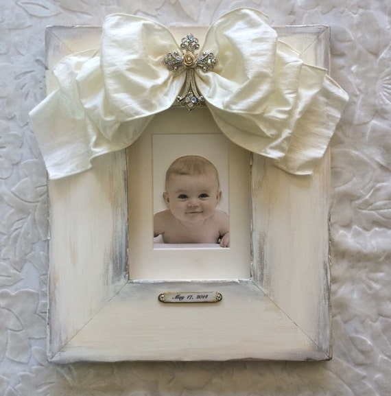 Baby baptism frames with bows religious cross white jewel baby baptism frames with bows religious cross white jewel personalize with name christening christmas gift baby gift idea new couple from hannahbowbanna on negle Image collections