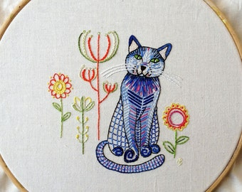 Blue cat embroidery pattern, pdf download, cat embroidery design, hand embroidery pattern, cute cat embroidery design