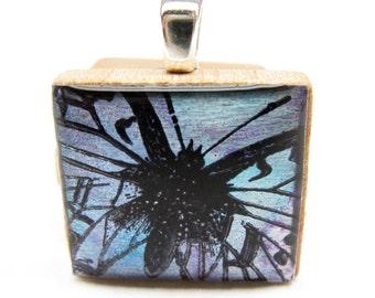 Twilight Butterfly - Glowing metallic Scrabble tile pendant