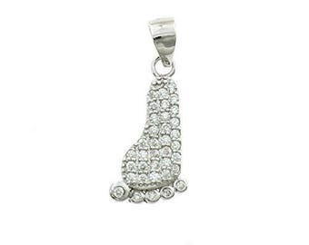 Zirconate foot pendant in sterling silver 925 white gold plated hypoallergenic length 2 cm