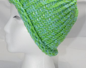 Earth and ocean hand knit cap.