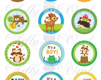 Boy Woodland, Forest Animals Baby Shower  Cupcake Toppers or Favor Tags Printables with fawn,owl,fox,frog,bear DIY  - ONLY digital file