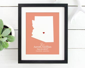 Personalized Arizona State Map Art, New Couple Engagement Gift, Gifts Under 25, First Anniversary, Gift New Home, Bridal Shower Gift