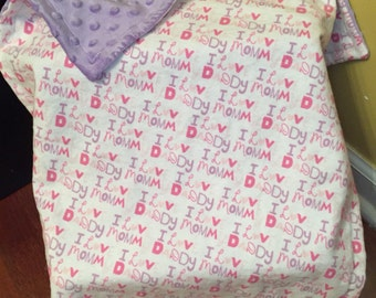 READY TO SHIP I Love Mommy, Daddy (Pink & Purple) Snuggle Flannel Blanket