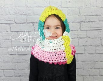 Hooded cowl, hooded scarf, toddler, girls, bright