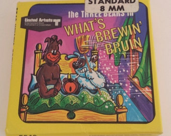 "Vintage Standard 8mm Kids Cartoon Movie ""The Three Bears in What's Brewin' Bruin"" UA Ken Films #5542/Silent Retro Litho & Film Collectible"