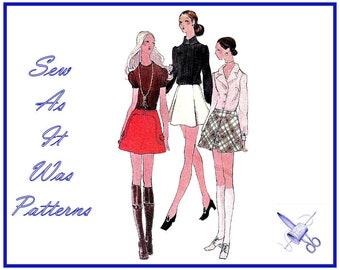 "1960s FF Unused Vogue 7867 Mini Mod Flared A-Line Skirts Pleats Invert Pleat Yoke Flap Vintage Sewing Pattern Size 14 Waist 25"" 65cm"