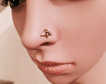 Rose Gold Bee Nose Stud ~ Honey Bee Nose Screw ~ Rose Gold Dipped Nose Piercing Jewelry