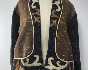 Vintage YakMagik jacket  made of cotton and leather. Made in Nepal
