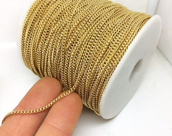 Real Gold Plated Round or Flat Curb Link Stainless Steel Chain 2.2x3.0mm Soldered