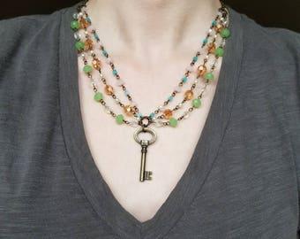 Multistrand Beaded Key Necklace