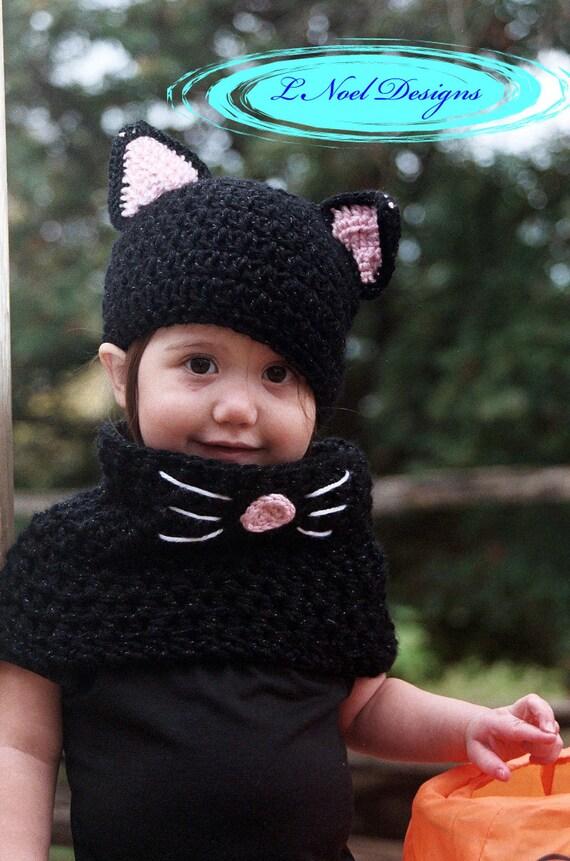sc 1 st  Etsy & Black Cat Hat and Cowl Set Black Cat Costume Kids Halloween