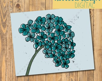 Hydrangea Art Print | Printable | Poster | Flower Art