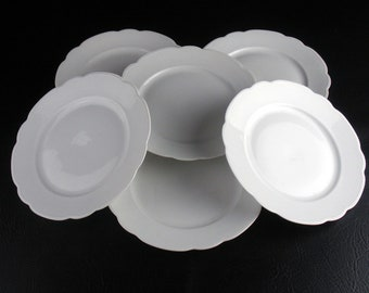 MZ Austria All White Luncheon Plates 6 pc Set Antique c.1900 8 7 & Antique china plates | Etsy