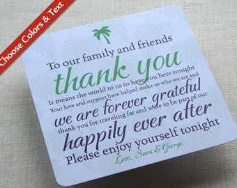 Palm Tree Wedding Reception Thank You Card - Destination Travel Tropical - Custom Colors - Custom Wording