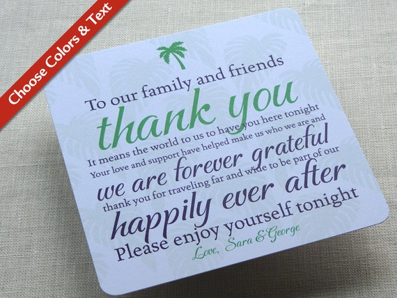 Thank You Wording For Wedding Gift: Palm Tree Wedding Reception Thank You Card Destination