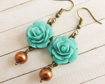 Turquoise rose earrings, copper pearl earrings, Swarovski elements, dangle flower earrings, romantic vintage style jewelry