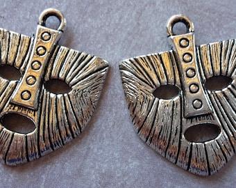 1 pc, tribal pendant, mask, ethnic pendant, silver - Metal pendant 30 x 25 mm