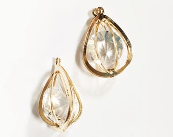 4 pcs 3D Light gold teardrop charm with Cubic Zirconia 30x9mm, bulk gold teardrop pendant