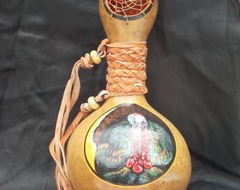 Hand Painted Gourd- Turkey Dream Catcher