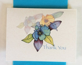 Columbine Thank You Greeting Card-Cream - Set of 10-Available blank