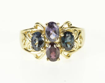 10k Assorted Gemstone Oval Cluster Scroll Heart Ring Gold