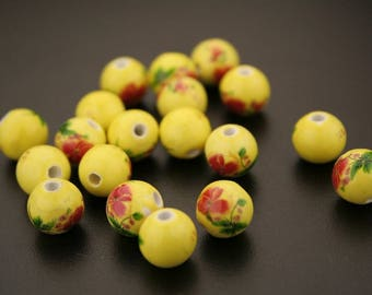 10 round porcelain printed beads. (ref:3116).