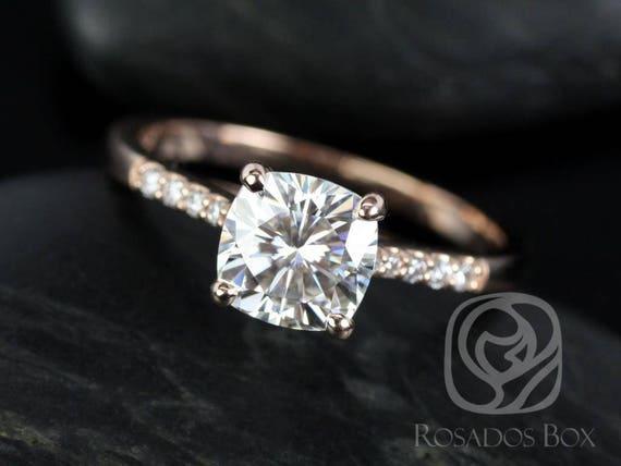 Rosados Box Mila 7mm 14kt Rose Gold Cushion F1- Moissanite Solitaire Diamonds Engagement Ring