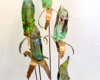 Mid Century Brutalist Curtis Jere Era Lucite and Bronze Cattail Sculpture