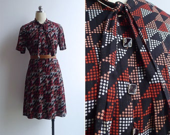 Vintage 80's 'Disco Dots' Black Cotton Dress with Bow Tie Collar S or M