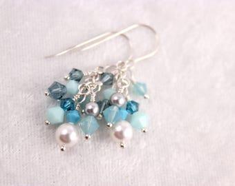 Aqua Ocean Cluster Earrings, Crystal Pearl Swarovski