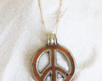 Boho Peace Sign, Om, Necklace, Zen, Gold Chain, Tahitian, Pendant, Yoga, Hawaiian, Etsy, Tibetan, Satellite, Sunrise, Rare, Mermaid, Vintage