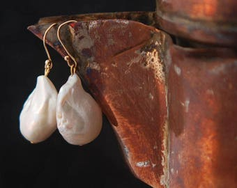 Large White Freshwater Pearl and 24k Gold Vermeil Earring