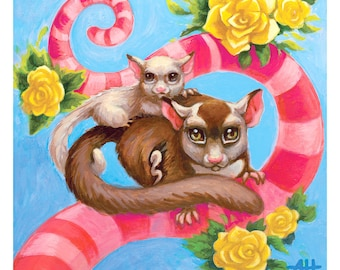 Sugar Gliders in Candyland print by Angel Hawari, Candyland Creatures,