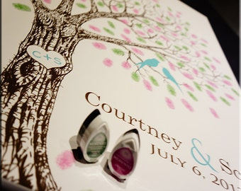 Wedding Guest Book Alternative Custom Wedding Guest book Fingerprint Tree Watercolor wedding tree Custom Wedding Gift Hand Drawn Wedding #L
