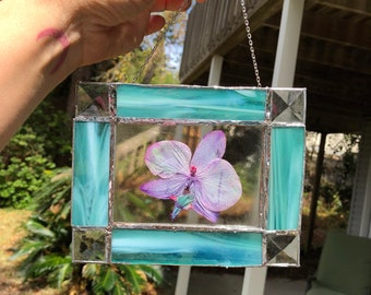 Stained Glass framed orchid petal