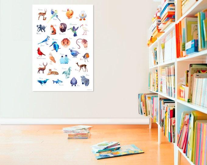 ABC Poster, Nursery decor, Animals art, Alphabet wall art, Animal print, Baby shower, Alphabet art, Geometric animals, Modern nursery art