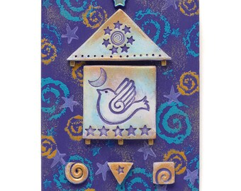 Mixed media assemblage,celestial, moon and stars, wall decor, home decor, original art, blue