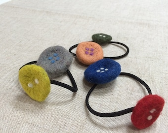 Felted Button Hair ties/ Ponytail holders