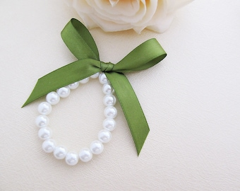10% OFF SET of 3 - Sweet White Glass Pearls with Ribbon Bridesmaid Bracelet - Choose your prefer color