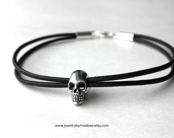 Skull Bracelet, Halloween jewelry, Black Leather Bracelet, Sterling silver skull, goth gift, gift for woman, ready to ship