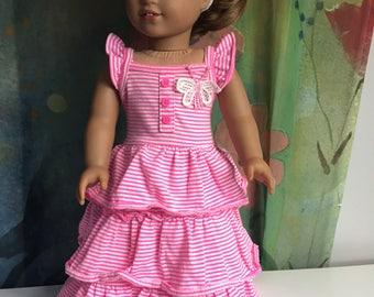 American Girl Butterfly Ruffle Maxi Dress Set
