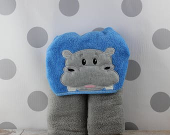 Teen or Adult Hippo Hooded Towel - Hippopotamus Towel for Bath, Beach, or Swimming Pool - Adult Hippo Towel - Great Christmas Gift Idea!