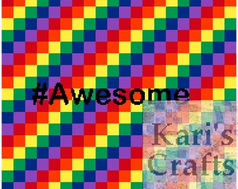 Awesome Rainbows Afghan PDF Pattern Graph + Written Instructions for Crochet or Knit - Instant Download