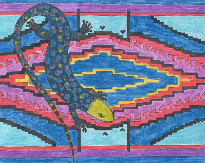 Lizard Motif in blue greeting card