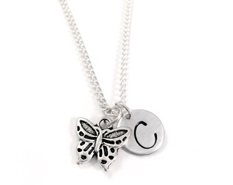 Little Girl necklace   personalized initial charm necklace   butterfly charm necklace   little girl jewelry   butterfly charm