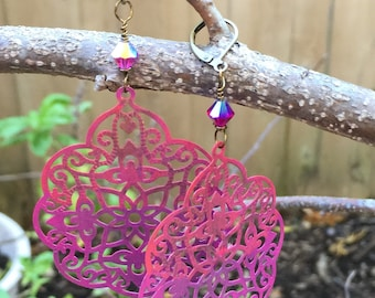 Hot Pink and Orange Patina India Style Filigree and Rose ABX2 Swarovski Crystal Dangle Earrings  Boho Jewelry  Shabby Chic Patina Earrings