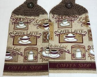 Coffee Shop print towels set of 2